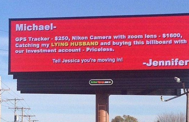 A Woman Gets Revenge on Her Cheating Husband With a Giant Billboard