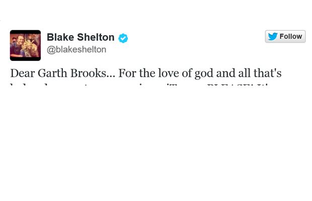 Look What Blake Shelton Tweeted to Garth Brooks
