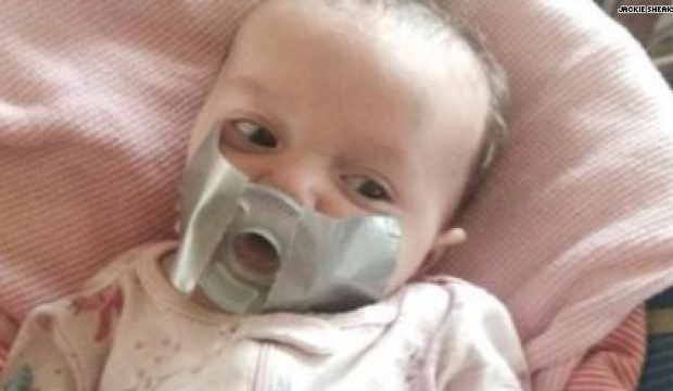 Baby Has Pacifier Duck Taped To Face