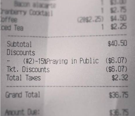 North Carolina restaurant offers discount to pray in public