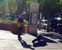 Keith Urban Facebook Photo of him playing on the street in denver